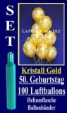 Luftballons Kristall-Gold Helium Set zum 50. Geburtstag, 100 Latex-Luftballons mit der Zahl 50