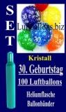 Luftballons Helium Set Kristall zum 30. Geburtstag, 100 Latex-Luftballons mit der Zahl 30