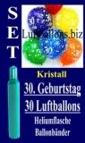 Luftballons Kristall Helium Set zum 30. Geburtstag, 30 Latex-Luftballons mit der Zahl 30