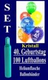 Luftballons Kristall Helium Set zum 40. Geburtstag, 100 Latex-Luftballons mit der Zahl 40
