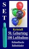 Luftballons Kristall Helium Set zum 50. Geburtstag, 100 Latex-Luftballons mit der Zahl 50