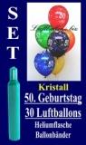 Luftballons Kristall Helium Set zum 50. Geburtstag, 30 Latex-Luftballons mit der Zahl 50