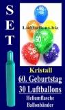 Luftballons Kristall Helium Set zum 60. Geburtstag, 30 Latex-Luftballons mit der Zahl 60