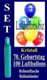 Luftballons Kristall Helium Set zum 70. Geburtstag, 100 Latex-Luftballons mit der Zahl 70
