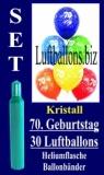Luftballons Kristall Helium Set zum 70. Geburtstag, 30 Latex-Luftballons mit der Zahl 70