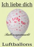 Luftballons mit I love you, 10 Stück, rot-weiss, Ballons aus Latex