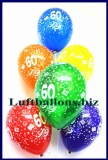 Zahlen-Luftballons, Zahl 60, Kristallfarben, 25 Stück