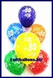 Zahlen-Luftballons, Zahl 80, Kristallfarben, 10 Stück