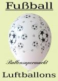Fußball Luftballons, 10 Stück, Farben Weiß, Gelb, Rot