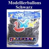 Modellierballons, Schwarz, 100 Stück