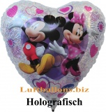 Minnie Mouse und Mickey Mouse in Love, holografischer Luftballon