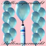 Luftballons mit Mini-Heliumflasche, Ballons in metallischen Farben, Blau