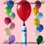 Luftballons mit Mini-Heliumflasche, Ballons in metallischen Farben, Sortiert