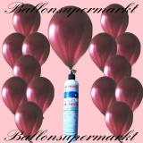 Luftballons mit Mini-Heliumflasche, Ballons in metallischen Farben, Burgund