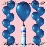 Luftballons mit Mini-Heliumflasche, Ballons in metallischen Farben, Dunkelblau