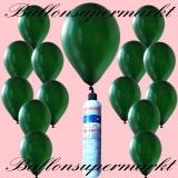 Luftballons mit Mini-Heliumflasche, Ballons in metallischen Farben, Dunkelgrün