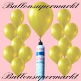 Luftballons mit Mini-Heliumflasche, Ballons in metallischen Farben, Gelb