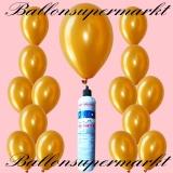Luftballons mit Mini-Heliumflasche, Ballons in metallischen Farben, Gold
