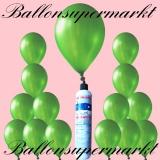 Luftballons mit Mini Heliumflasche, Ballons in metallischen Farben, Grün