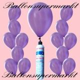 Luftballons mit Mini-Heliumflasche, Ballons in metallischen Farben, Lila