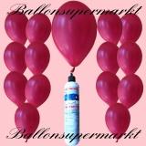 Luftballons mit Mini-Heliumflasche, Ballons in metallischen Farben, Violett