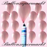 Luftballons mit Mini-Heliumflasche, Ballons in metallischen Farben, Rosa