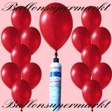 Luftballons mit Mini-Heliumflasche, Ballons in metallischen Farben, Rot