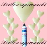 Luftballons Helium Set, Miniflasche, Herzluftballons in Elfenbein