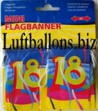 Geburtstag-Dekoration, Mini-Flaggenbanner, 18. Geburtstag