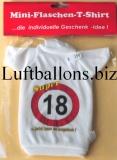 Schilder-Dekoration, Geburtstag Mini Flaschen T-Shirt mit der Zahl 18