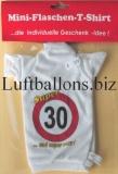 Schilder-Dekoration, Geburtstag mini Flaschen T-Shirt, 30. Geburtstag