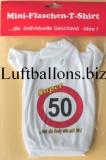 Schilder-Dekoration, Geburtstag Mini Flaschen T-Shirt, 50. Geburtstag