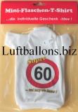 Schilder-Dekoration, Geburtstag Mini Flaschen T-Shirt, 60. Geburtstag