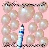 Luftballons Helium Set, Miniflasche, Latex-Luftballons in Weiß, Just Married