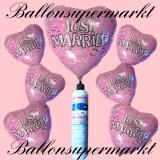 Folienballons zur Hochzeit, Just Married, Pink, Champagnergläser, inklusive Helium-Einweg-Miniflasche