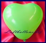 Mini-Herzluftballons, 8-12 cm, Grün, 100 Stück