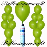 Luftballons Helium Set, Miniflasche, Latex-Luftballons in Grün