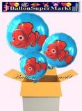 Nemo Rundluftballons mit Helium, Kindergeburtstag Geschenke, 3 Stück