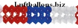 Girlande, Party- und Festdekoration, Seidenpapiergirlande, Blau-Weiß-Rot, 4 Meter