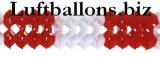 Girlande zur Party- und Festdekoration, Seidenpapiergirlande, Rot-Weiss, 4 Meter