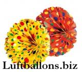 Party- und Festdekoration, Wabenball-Set, Gelb und Rot mit Punkten, 2 Stück