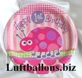 Partydekoration zum 1. Geburtstag, Teller, Marienkäfer, 1st Birthday, 8 Stück
