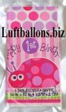 Partydekoration zum 1. Geburtstag, Tischdecke, Marienkäfer, Happy 1st Birthday