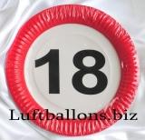 Geburtstag, Tischdekoration, Partyteller zum 18. Geburtstag