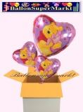 Pooh Herzluftballons mit Helium, Kindergeburtstag Geschenke, 3 Stück