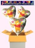 Pooh Holo Herzluftballons mit Helium, Kindergeburtstag Geschenke, 3 Stück