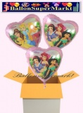 Princess Herzluftballons mit Helium, Kindergeburtstag Geschenke, 3 Stück