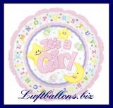 Luftballon zur Geburt eines Mädchens, Rundballon ohne Helium, It's a Girl