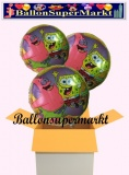 Spongebob Schwammkopf Rundluftballons mit Helium, Kindergeburtstag Geschenke, 3 Stück
