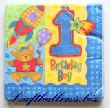 Servietten zum Kindergeburtstag, Papierservietten, Tischdekoration, Happy Birthday, 1. Geburtstag, Boy